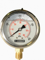 "0-600kPA 63mm Liquid Filled 1/4"" BSP Lower Mount Pressure Gauge"